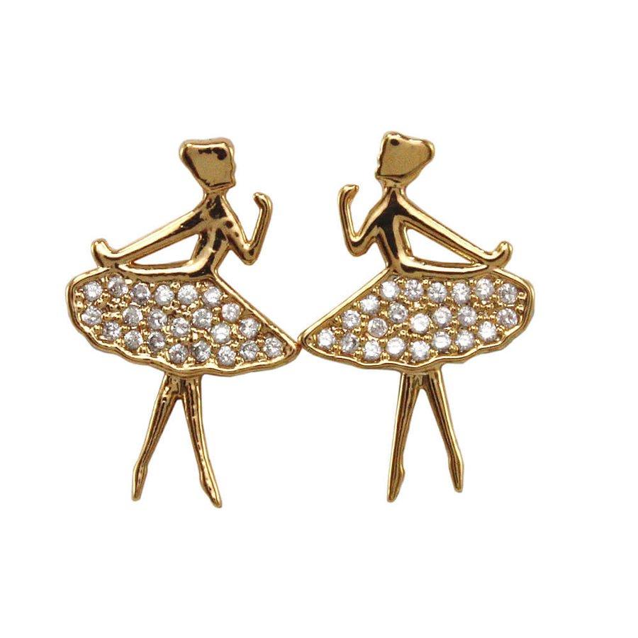 Brinco Bailarina Dourado strass *