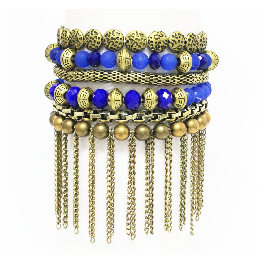 Pulseira Kit Doris Ouro Velho Azul
