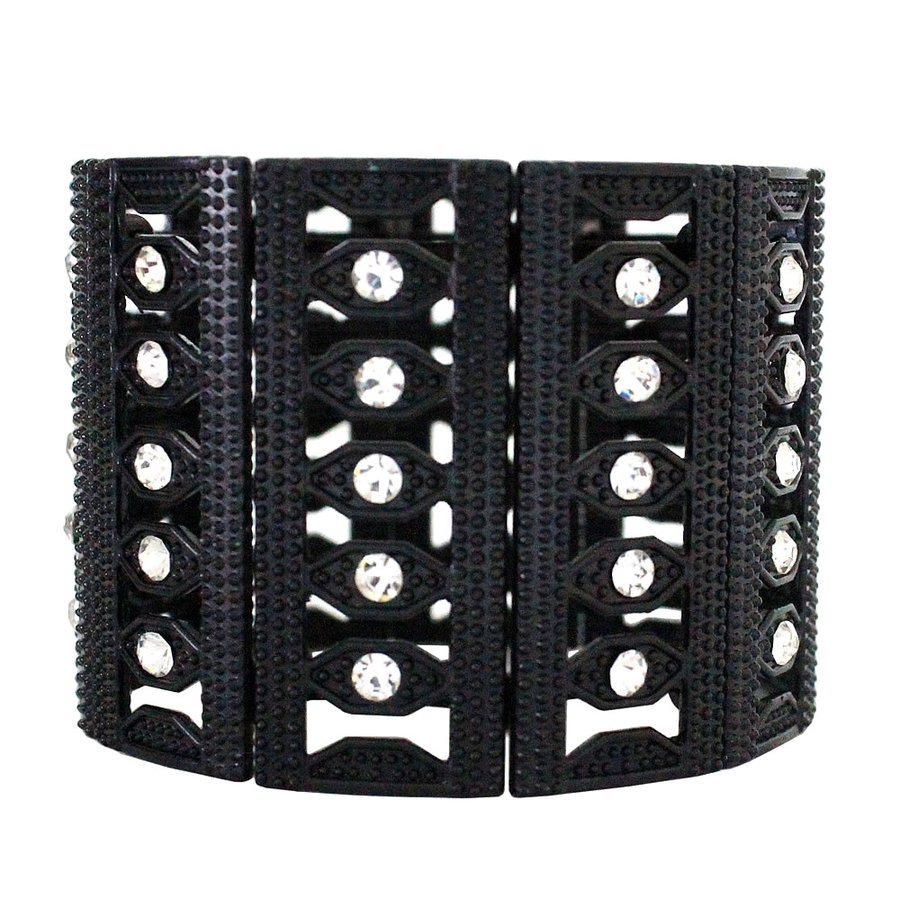 Pulseira Black Strass Branco Magic Eye