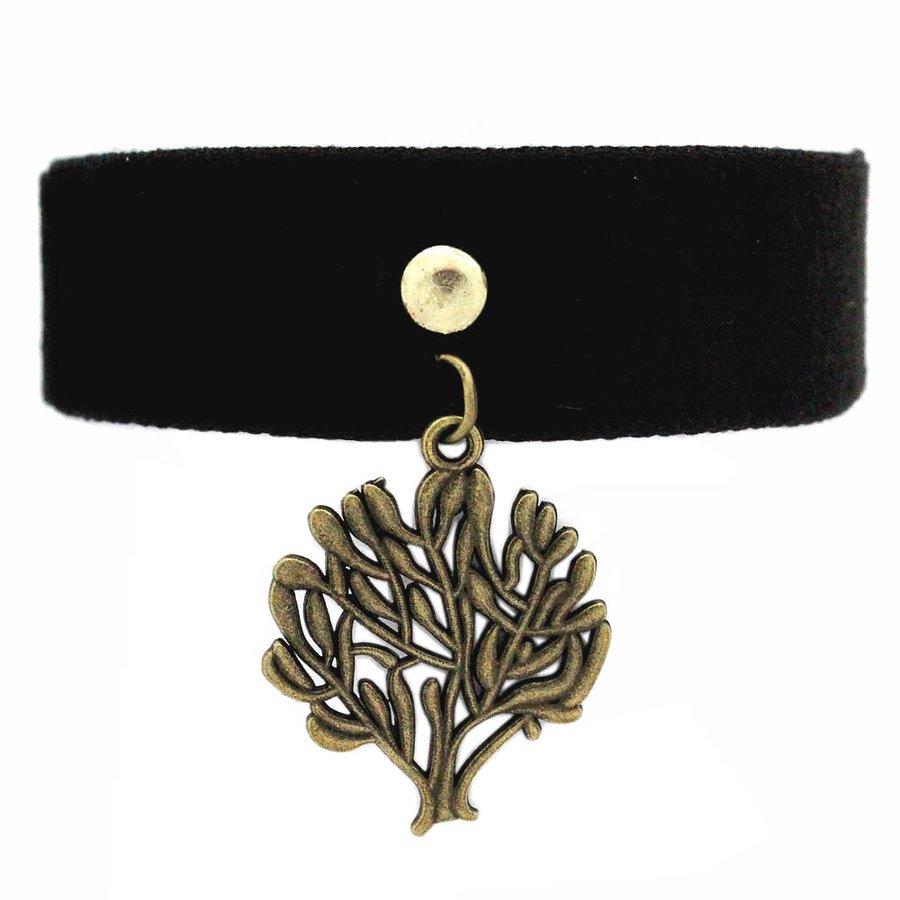 Pulseira Tecido Black Árvore Dourado Velho