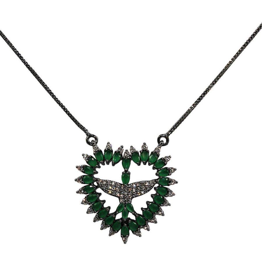 Colar Semi Joia Coração Cupido Grafite Verde