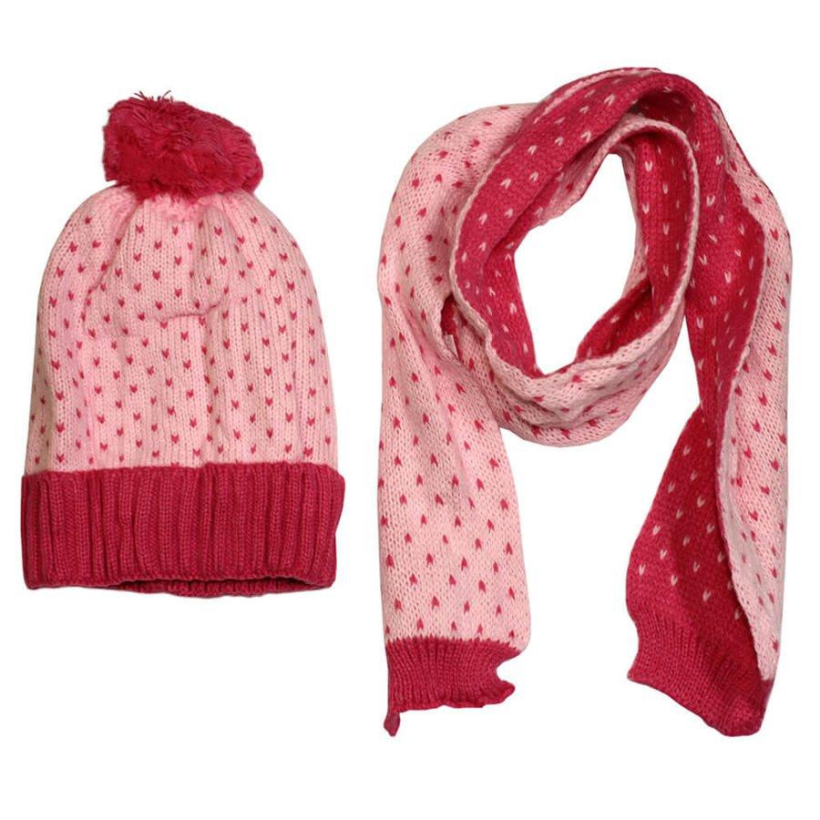 Kit Cachecol e Touca Infantil Detalhada Pink Rosa