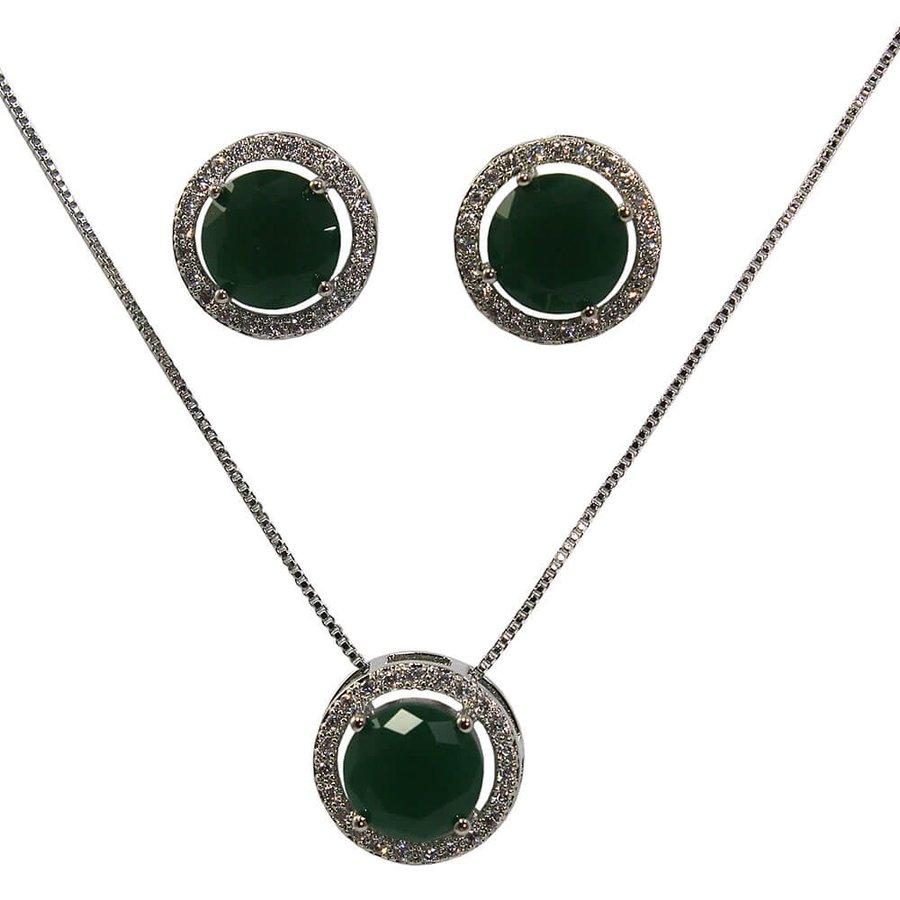 Conjunto Zircônia Colar E Brinco Hortencia Prata Verde *