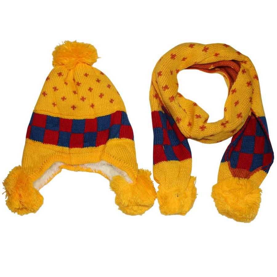 Kit Cachecol e Touca Infantil Xadrez Amarelo