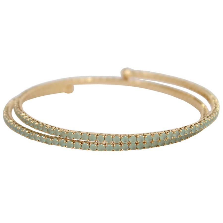 Pulseira Bracelete Zircônia Rubila Dourado Verde Leitoso