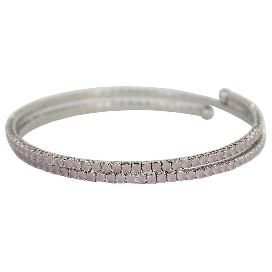 Pulseira Bracelete Zircônia Rubila Prata Rosa Claro