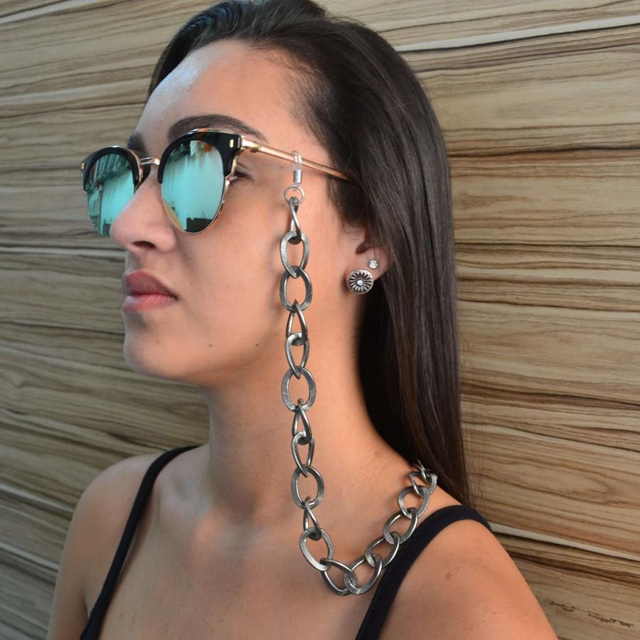 Cordinha de Óculos Corrente Texturizado Grafite *