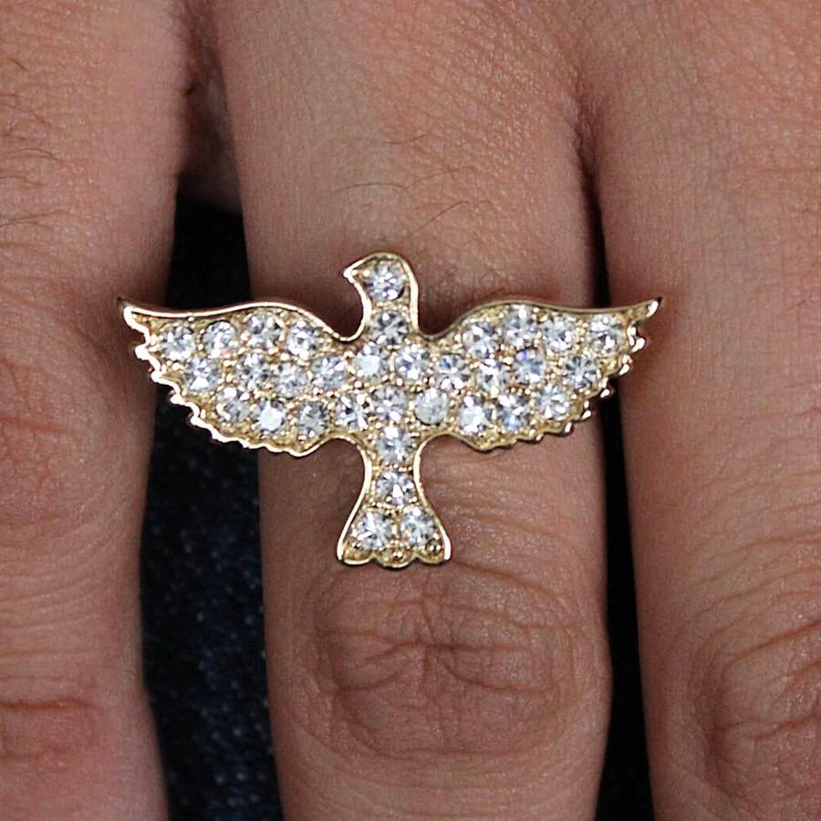 Anel Regulável Bird Dourado Strass Branco