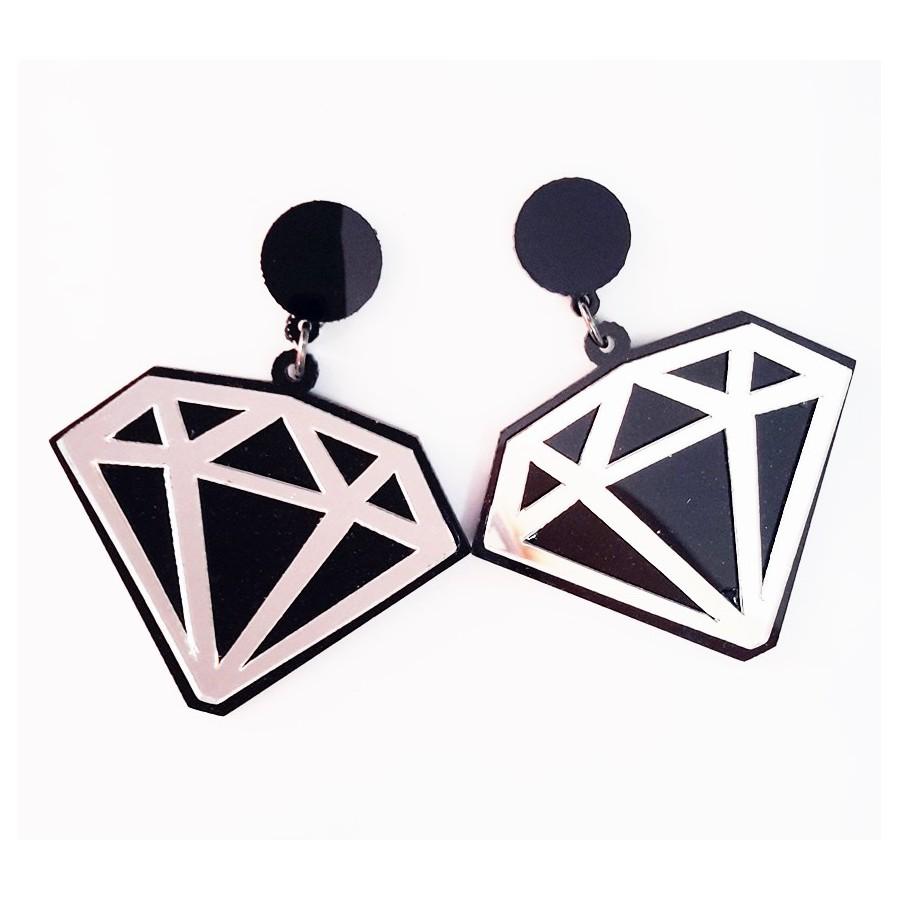 Brinco Acrílico Diamond Espelhado *