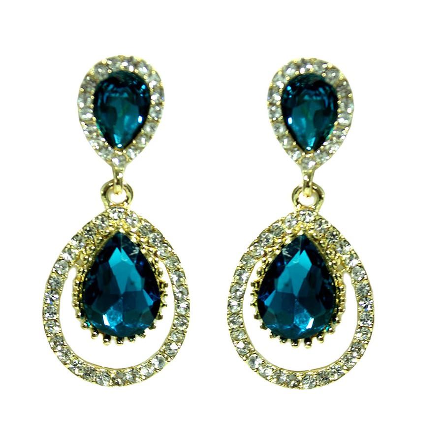 Brinco Dourado Three Drop Azul *