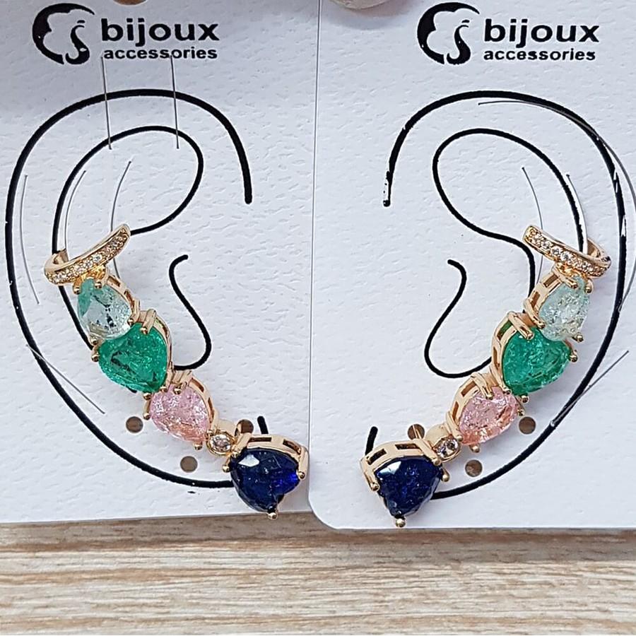 Par De Brinco Ear Cuff Médio Pedra Fusion Coração Dourado Azul Marinho Colorido