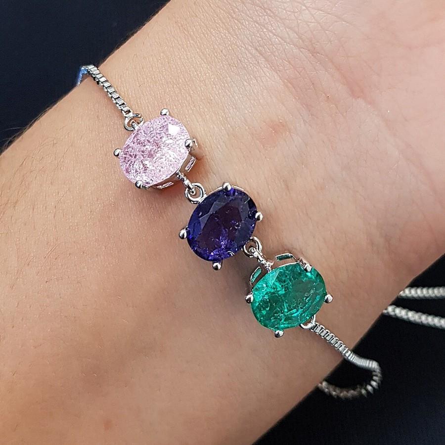 Pulseira Gravatinha Pedra Fusion Oval Prata Rosa Lilás Verde