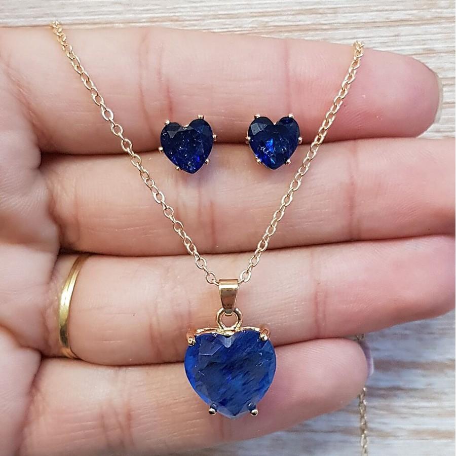Conjunto Coração Dourado Azul Marinho