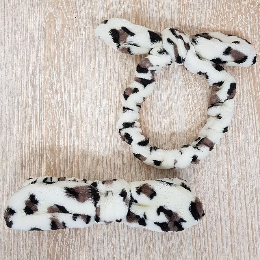 Faixa De Pelúcia Para Maquiagem Animal Print Off White e Marrom