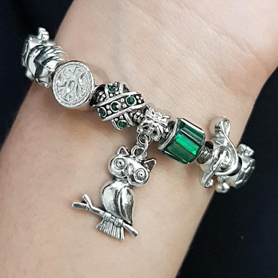 Pulseira Pandora Coruja Prata Verde