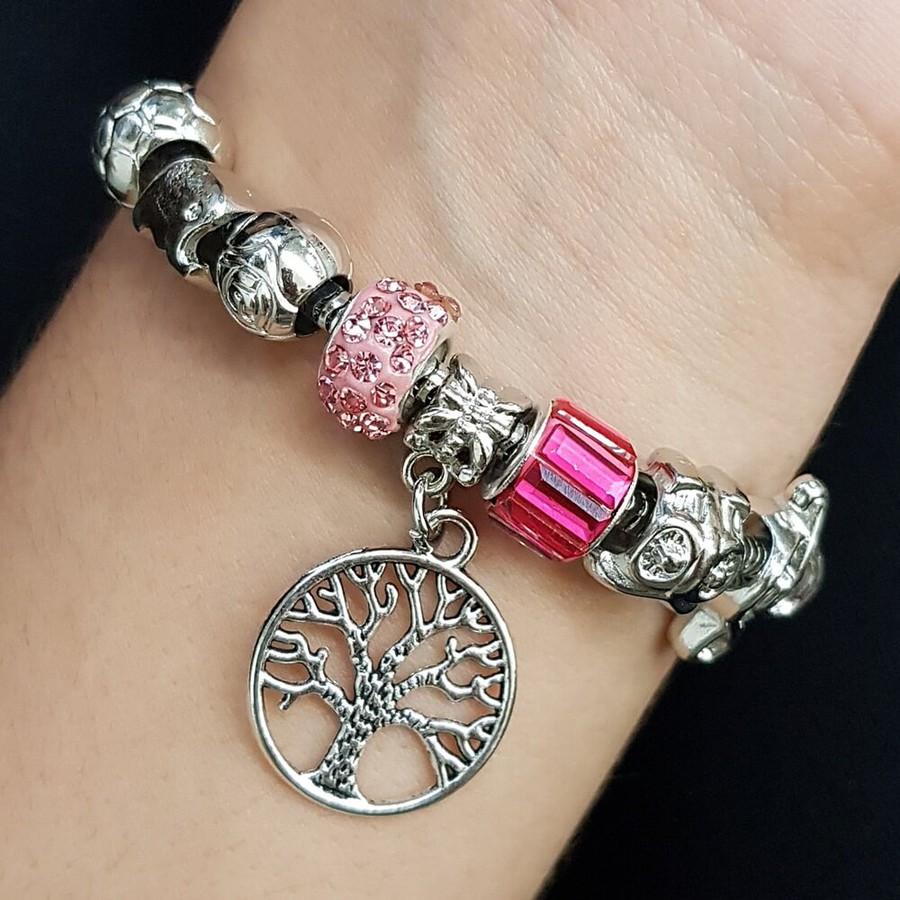 Pulseira Pandora Árvore Da Vida Prata Rosa