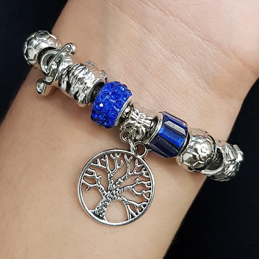 Pulseira Pandora Árvore Da Vida Prata Azul