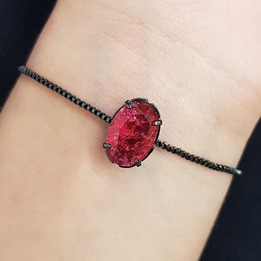 Pulseira Gravatinha Pedra Fusion Grafite Vermelho