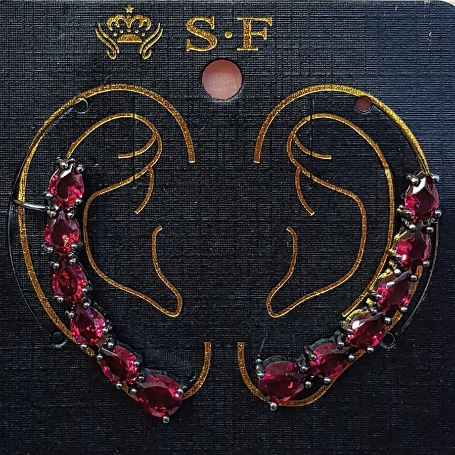 Par De Brincos Ear Cuff Médio Zircônia Grafite Vermelho