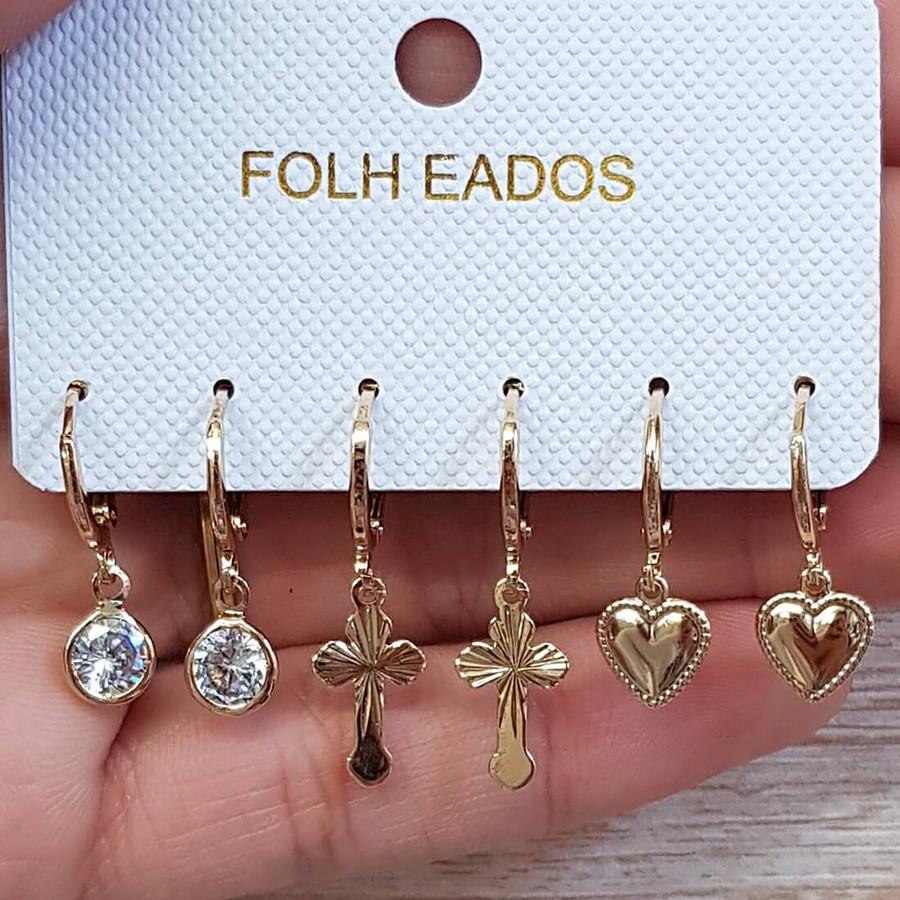 Kit De Mini Argolas Pingentes Dourado