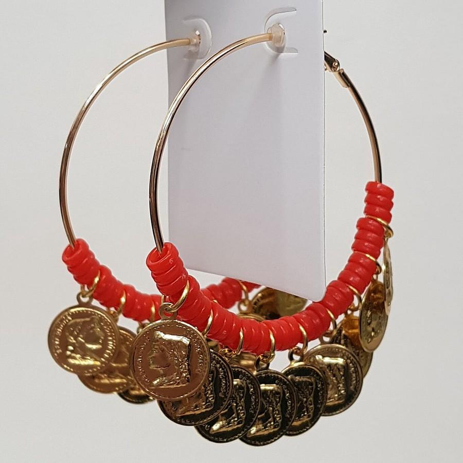 Argola Grande Medalhas Dourada Laranja