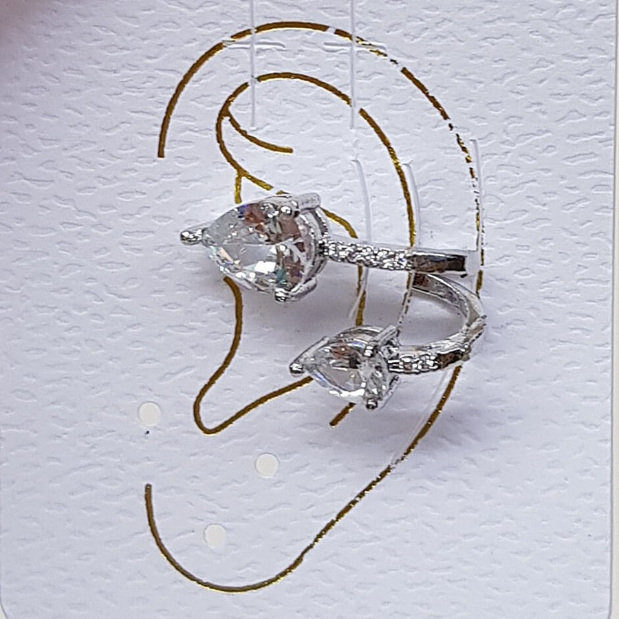 Piercing Fake Zircônia Gota Prata Branco