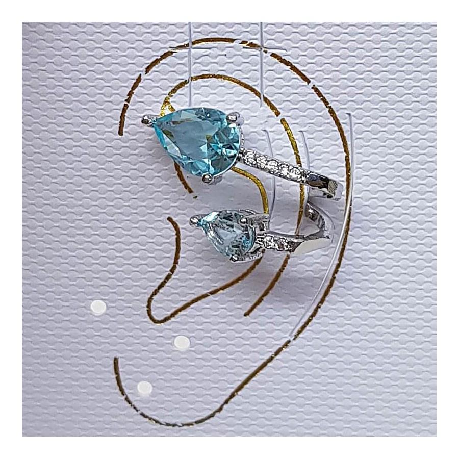 Piercing Fake Zircônia Gota Prata Azul