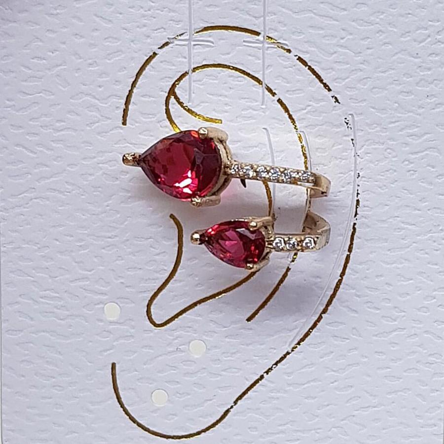 Piercing Fake Zircônia Gota Dourado Vermelho
