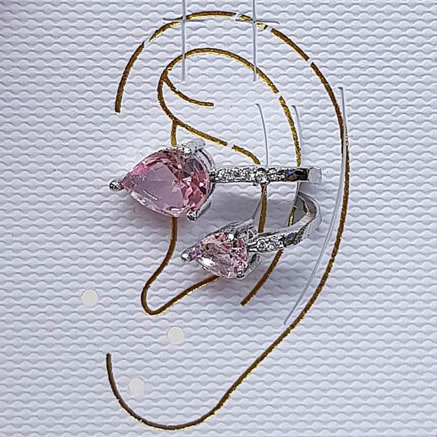 Piercing Fake Zircônia Gota Prata Rosa