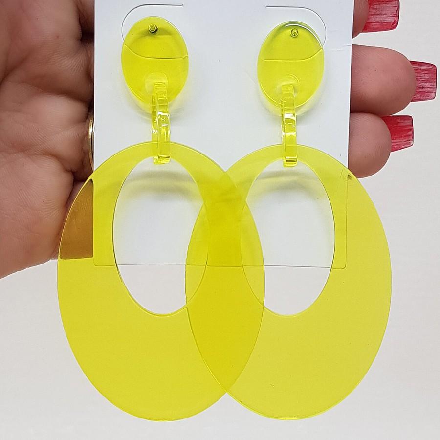 Brinco Maxi Acrílico Amarelo Neon
