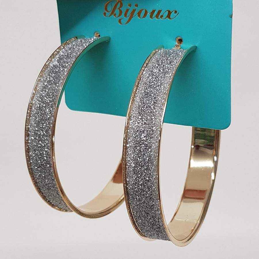 Argola Grande Glitter Dourada