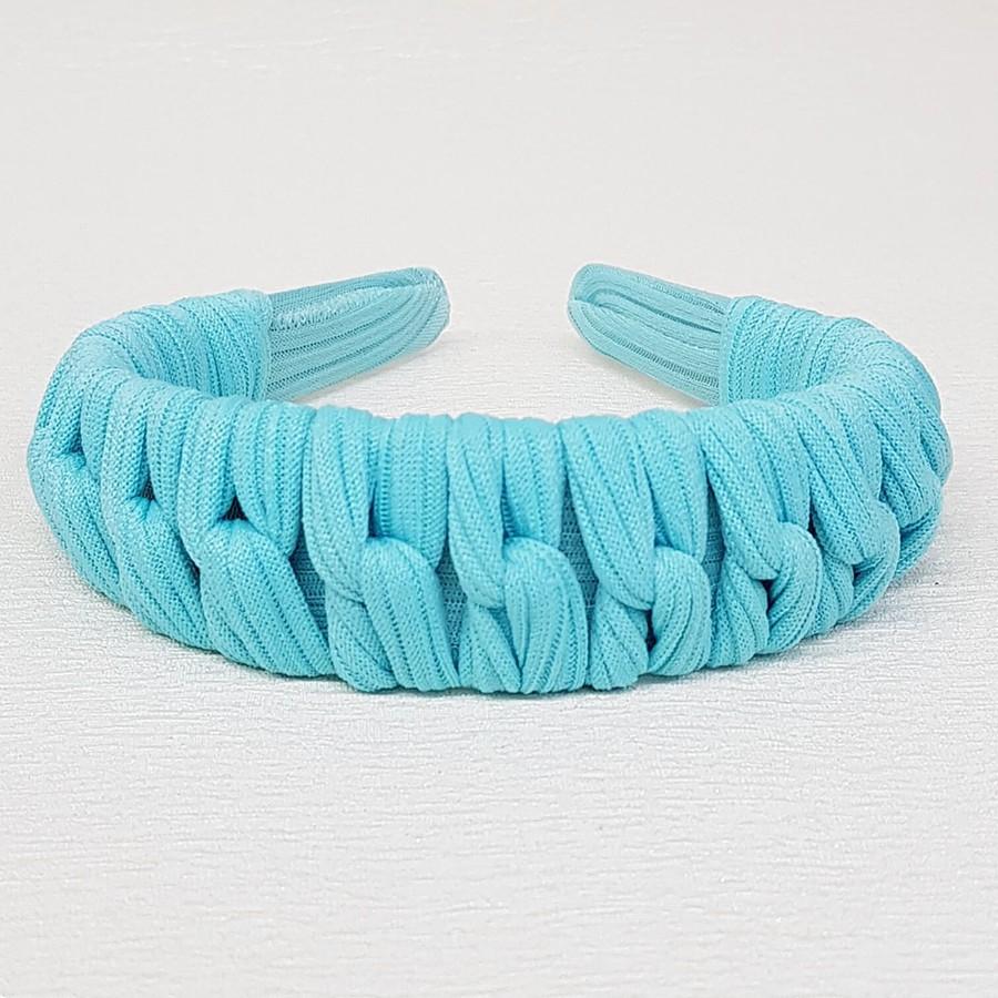 Tiara Macramê Azul Claro