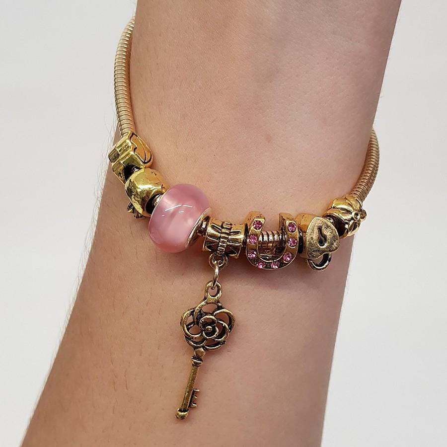 Pulseira Pandora Chave Dourado Rosa