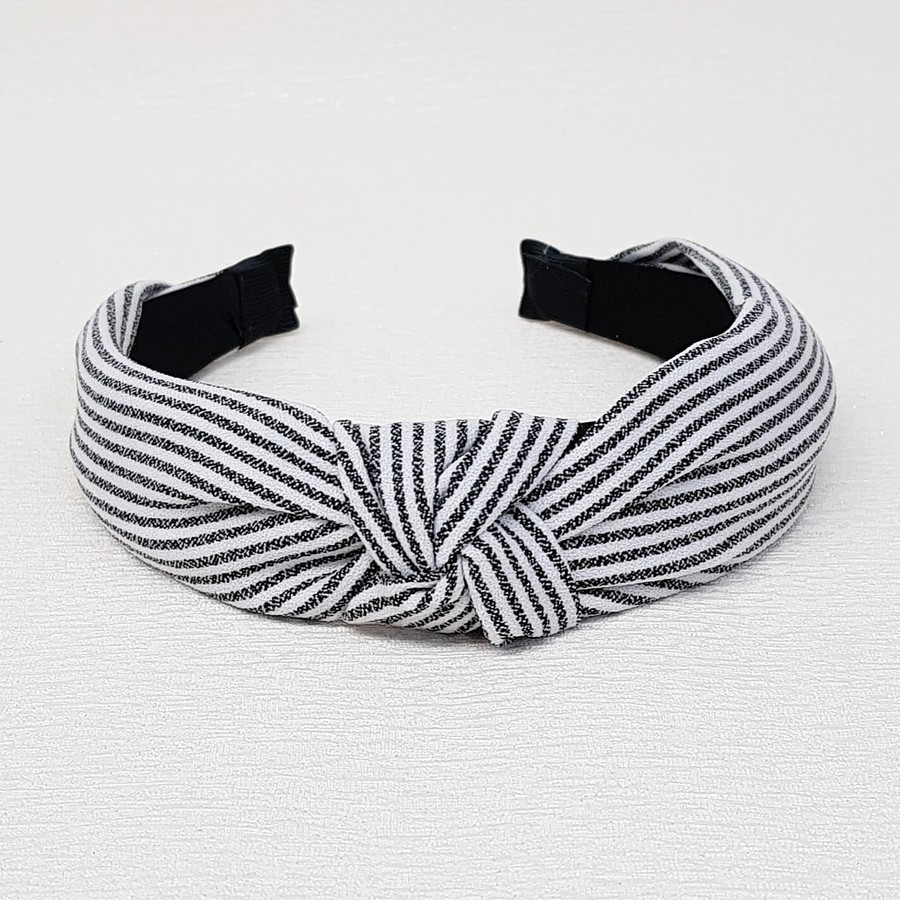 Tiara De Nó Listrada Branco