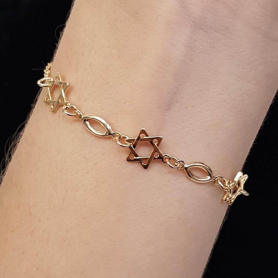 Pulseira Folheada Dourada Estrela De Davi