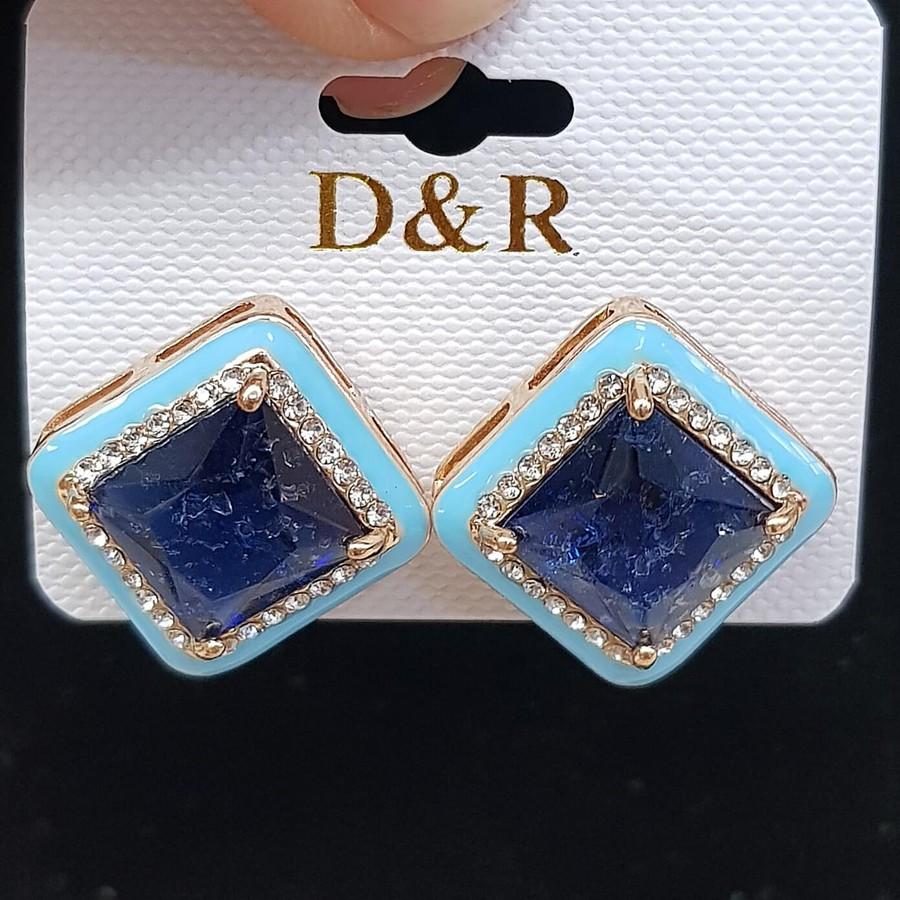 Brinco Ponteira Pedra Fusion Dourado Azul Claro e Azul Marinho