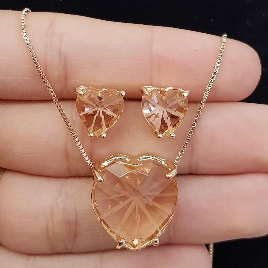 Conjunto Zircônia Coração Dourado Rosê
