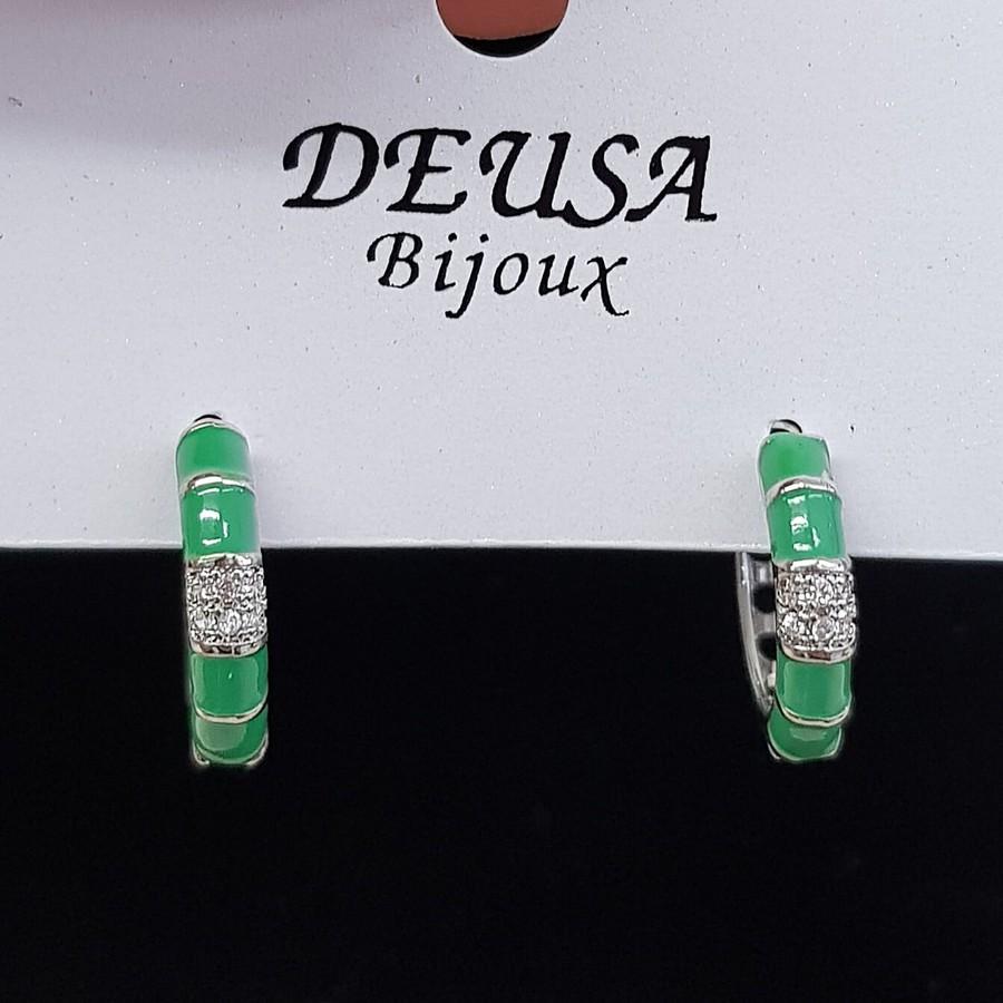 Mini Argola Micro Zircônia Prata Verde