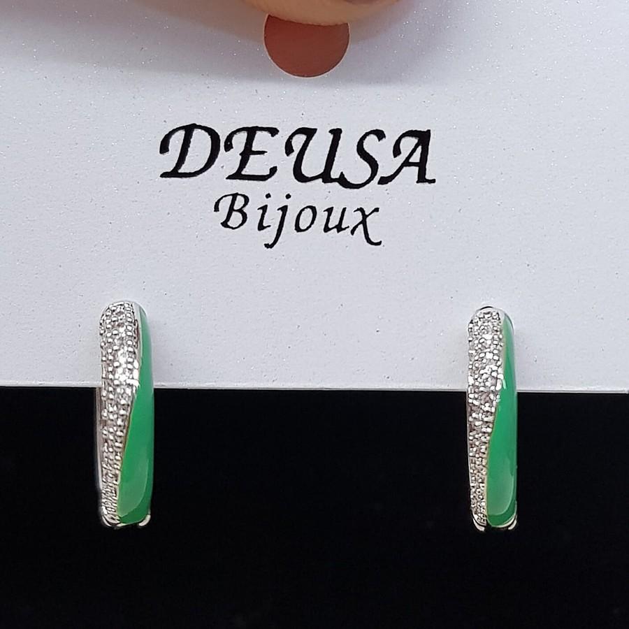 Mini Argola Esmaltada Micro Zircônia Prata Verde