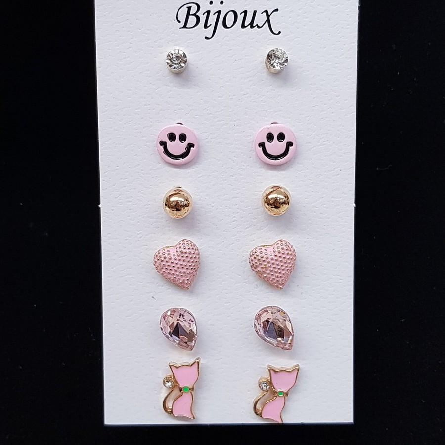 Kit De Brincos Smile Dourado Rosa Claro