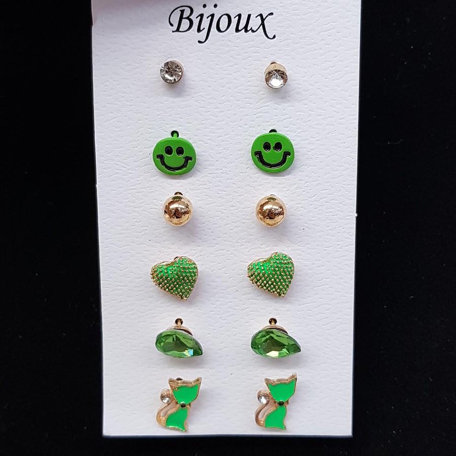Kit De Brincos Smile Dourado Verde