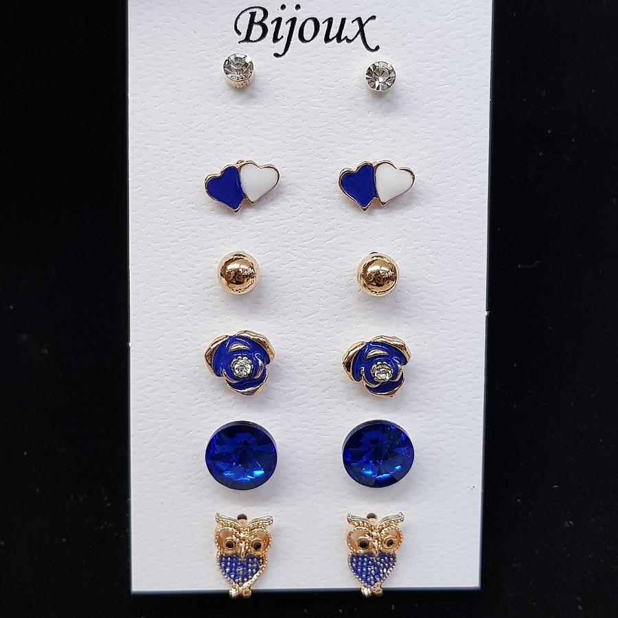 Kit De Brincos Coruja Dourado Azul Escuro