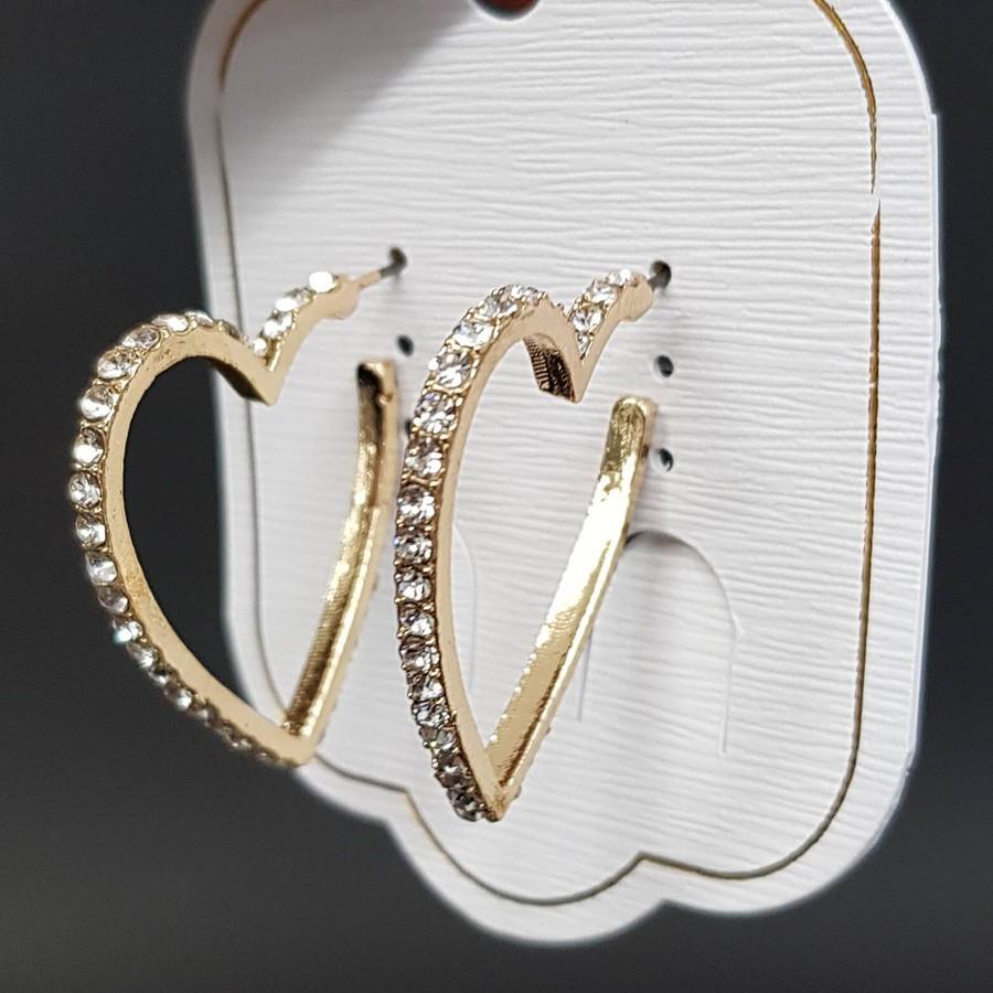 Argola Pequena Coração Dourado Branco