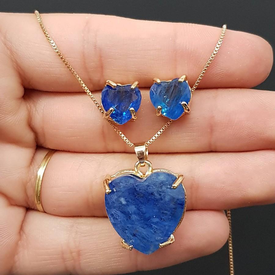 Conjunto Coração Dourado Azul