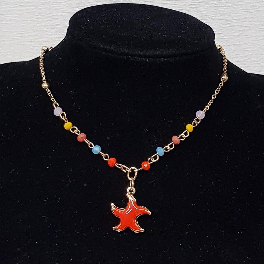 Colar Folheado Estrela Do Mar Esmaltada Dourada