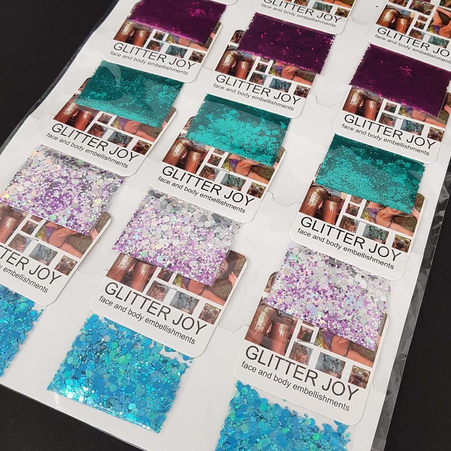 Cartela Com 12 Sachês De Glitter Joy Floquinhos Para o Corpo