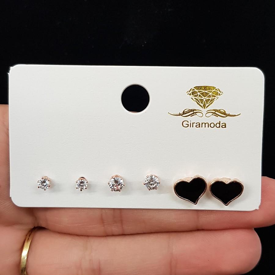 Kit De Brincos Coração Esmaltado Dourado