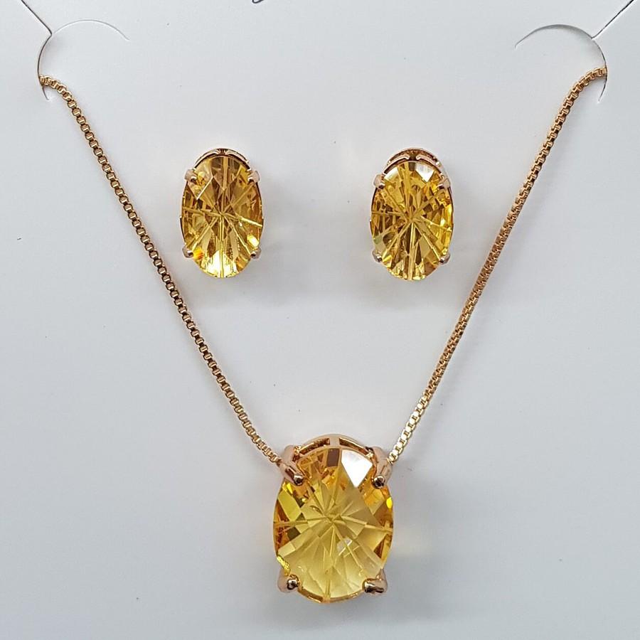 Conjunto Zircônia Oval Dourado Amarelo