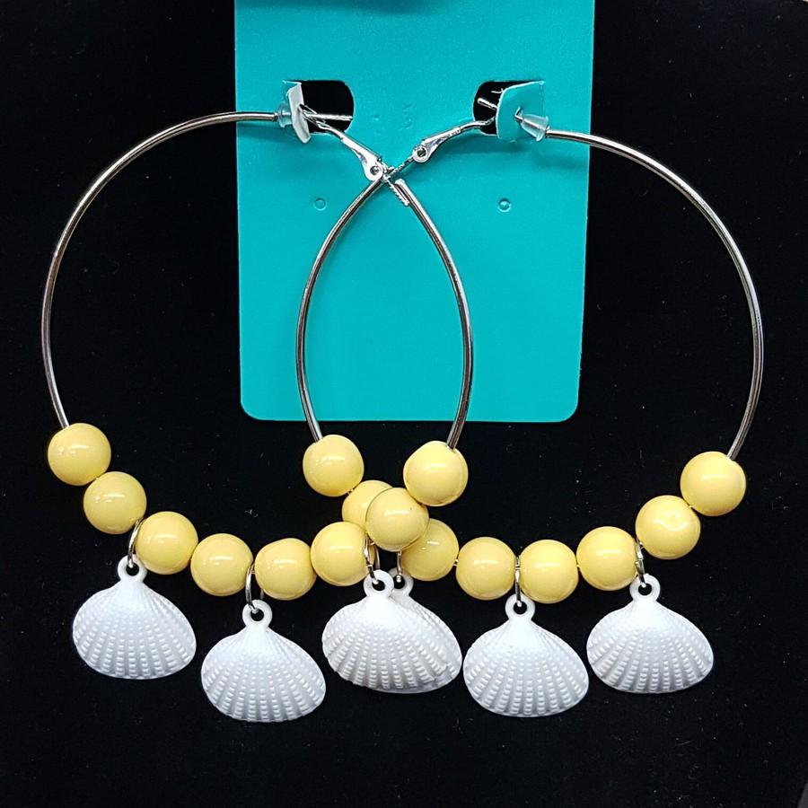 Argola Conchas Esferas Amarelo