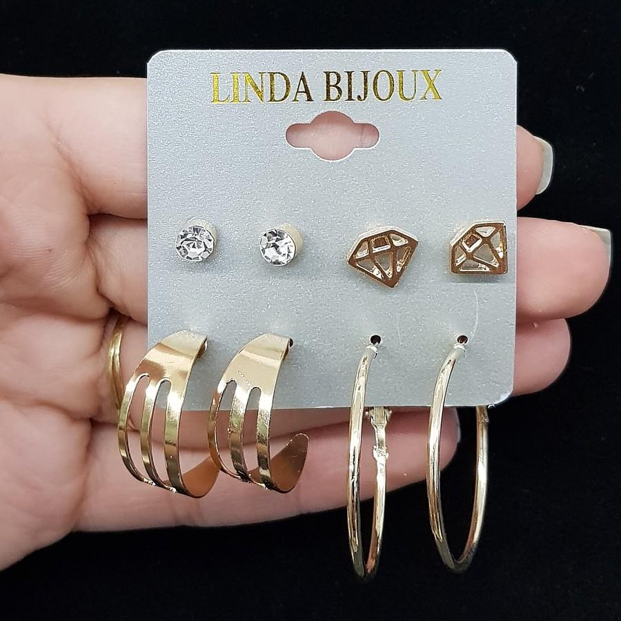Kit De Brincos Diamante Dourado